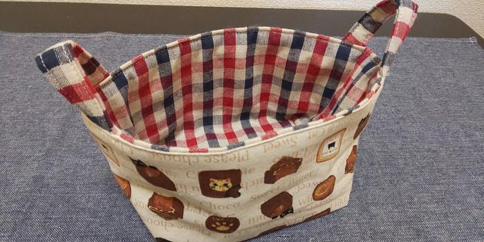 持ち手つき布製バスケット