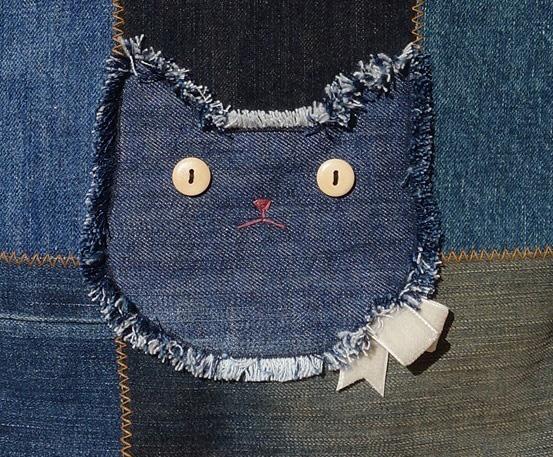 猫デニムトートバッグ