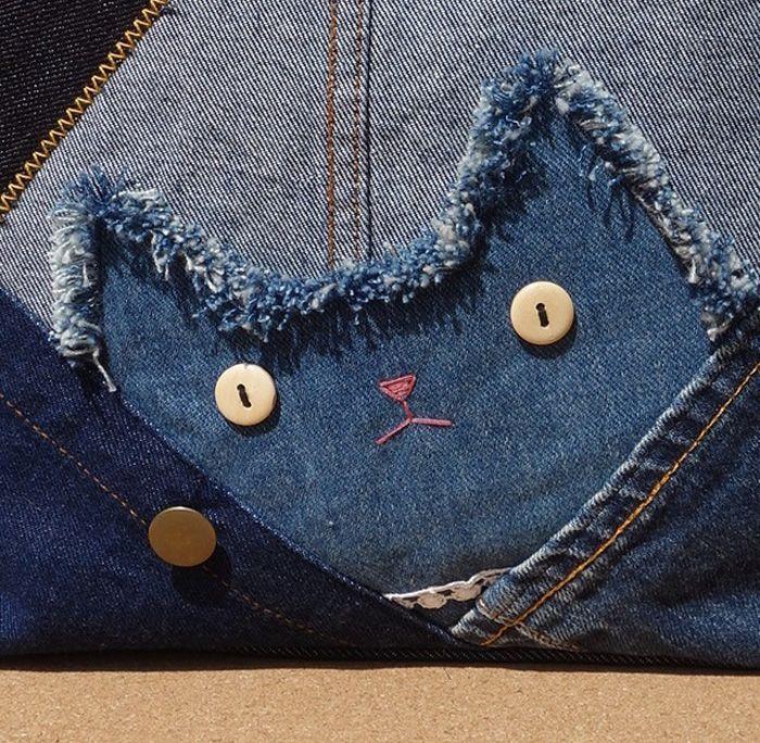 猫デニムリメイク パッチワークトートバッグ