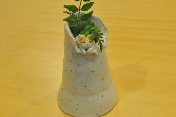 画像1: 猫つき花入れ【1匹】 (1)