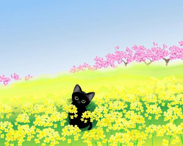画像1: 6切りイラスト<菜の花畑> (1)