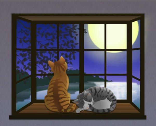 画像1: 6切りイラスト<月夜の窓辺> (1)
