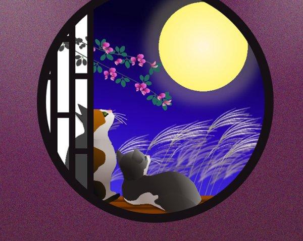 画像1: 6切りイラスト<お月見> (1)