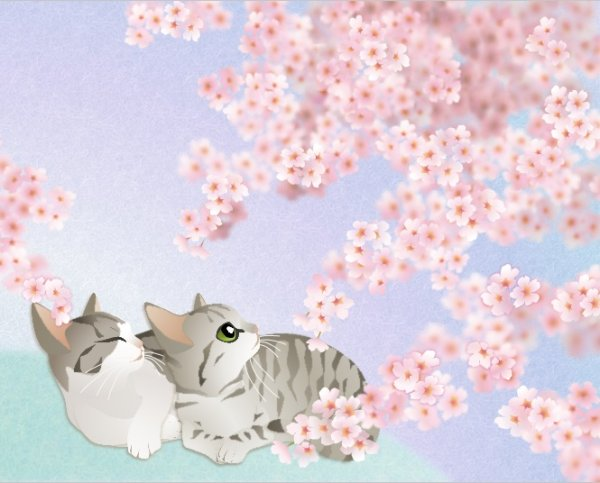 画像1: 6切りイラスト<さくら> (1)