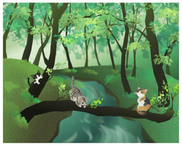 画像1: 6切イラスト<森の小川> (1)