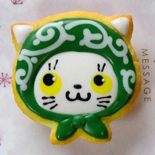 画像1: 耳つきほっかむり猫マグネット【白ネコ】 (1)