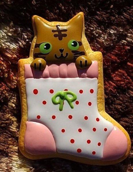 画像1: 靴下クッキーマグネット【白ドット】 (1)
