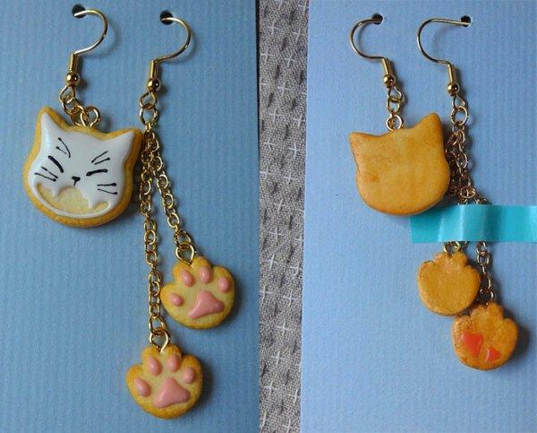 画像1: アシメ猫クッキーピアス【白猫】 (1)