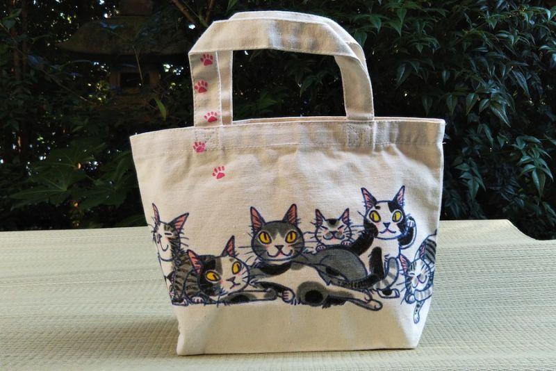 手描き猫トートバッグ